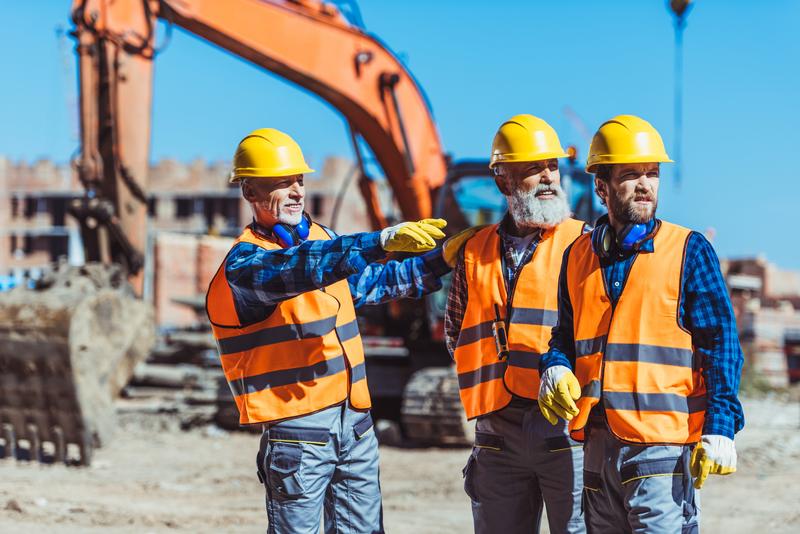 builders looking at welfare unit