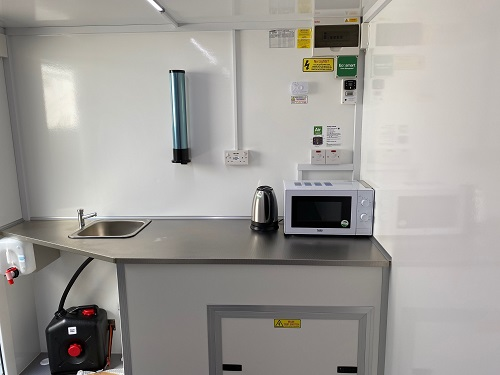 A welfare Unit interior with kitchen facilities